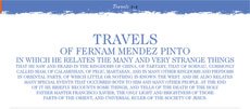 Travels of Fernam Mendez Pinto...